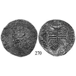 """Lisbon, Portugal, 400 reis, John IV, with Brazilian 500-reis (""""S00"""") countermark (1663)."""