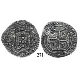"""Porto, Portugal, 400 reis, John IV, with Brazilian 500-reis (""""S00"""") countermark (1663), rare."""