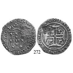 """Porto, Portugal, 400 reis, John IV, with Brazilian 500-reis (""""S00"""") countermark (1663)."""