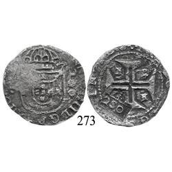 "Evora, Portugal, 200 reis, John IV, with Brazilian 250-reis (""2S0"") countermark (1663), rare."