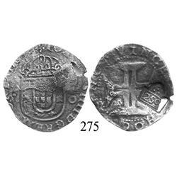 """Lisbon, Portugal, 200 reis, John IV, with Brazilian 250-reis (""""2S0"""") countermark (1663)."""