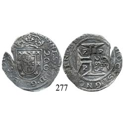 "Porto, Portugal, 200 reis, John IV, with Brazilian 250-reis (""2S0"") countermark (1663)."