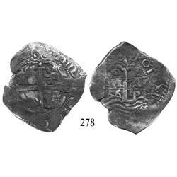 Potosí, Bolivia, cob 8 reales, 1666E.