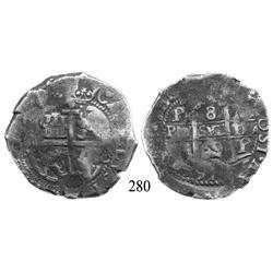 Potosí, Bolivia, cob 8 reales, 1669E.