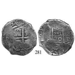 Potosí, Bolivia, cob 8 reales, 1670E.