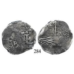 Potosí, Bolivia, cob 4 reales, 1663E.