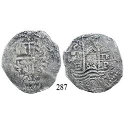 Potosí, Bolivia, cob 8 reales, 1663E.