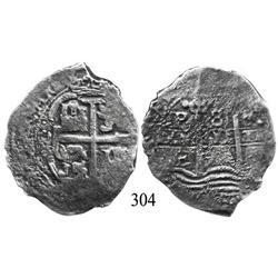 Potosí, Bolivia, cob 8 reales, Philip IV or Charles II, assayer E (1652-1678).