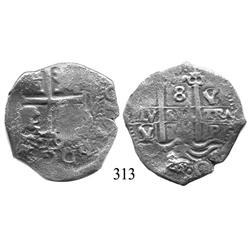 Potosí, Bolivia, cob 8 reales, 1679V/C, scarce.