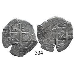 Potosí, Bolivia, cob 4 reales, 1674E.