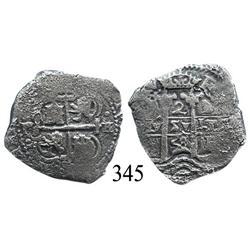 Potosí, Bolivia, cob 2 reales, 1658E.