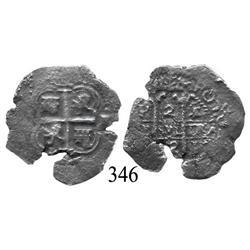 Potosí, Bolivia, cob 2 reales, 1662E.