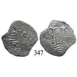 Potosí, Bolivia, cob 2 reales, 1663E.