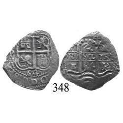 Potosí, Bolivia, cob 2 reales, 1664E.