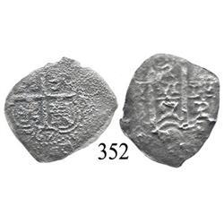 Potosí, Bolivia, cob 2 reales, 1667E.