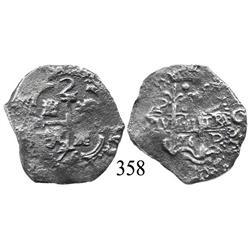 Potosí, Bolivia, cob 2 reales, 1676E.