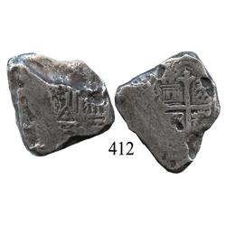 Mexico City, Mexico, cob 8 reales, Charles II, assayer not visible, 4R-sized cross.