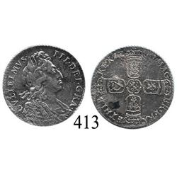 London, England, sixpence, William III, 1700.