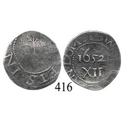 Massachusetts Bay Colony, oak tree shilling, 1652.