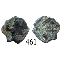 Small clump of 3 Mexico City, Mexico, cob ½ reales or fragments of larger coins.