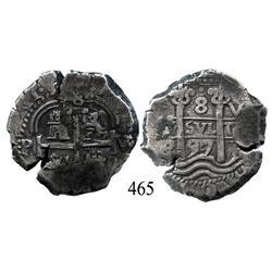 Potosí, Bolivia, cob 8 reales, 1697VR.