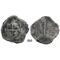 Potosí, Bolivia, cob 8 reales, 1697F/CH, very rare.