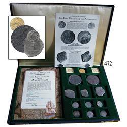 "Promotional set containing 1 Dutch (Utrecht) gold ducat, 2 Dutch silver ""rider"" ducatoons, 2 Mexican"