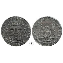 Mexico City, Mexico, pillar 8 reales, Philip V, 1733F, rare.