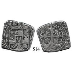 Mexico City, Mexico, klippe 8 reales, 1733F, scarce.