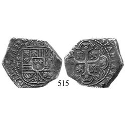 Mexico City, Mexico, klippe 8 reales, 1733MF.