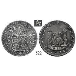 Mexico City, Mexico, pillar 8 reales, Philip V, 1734/3MF, scarce overdate.