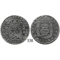Mexico City, Mexico, pillar 4 reales, Philip V, 1734/3MF, rare overdate.