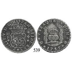 Mexico City, Mexico, pillar 4 reales, Philip V, 1735/3MF, rare overdate.