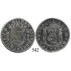 Mexico City, Mexico, pillar 4 reales, Philip V, 1737MF, choice.