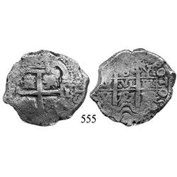 Potosí, Bolivia, cob 8 reales, 1727Y, Louis I, rare.