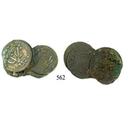 Clump of 5 copper Dutch East India Co. duits dated 1752.