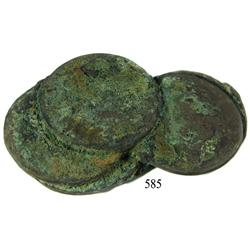 Clump of 6 Spanish Colonial bust 8 reales, Charles III.