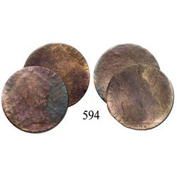 Lot of 2 English pennies of George III, one with 1775 date visible.