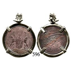 English East India Co. copper XX cash 1808, mounted in 14K gold necklace bezel.