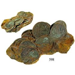 Clump of 14 English East India Co. copper X cash, 1808.
