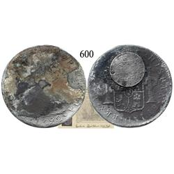 Clump of 2 coins: Lima, Peru, bust 8 reales, Charles IV, 1792 and Mexico City, Mexico, bust ½ real,