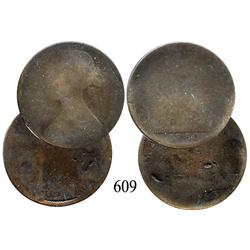 Lot of 2 Victorian English copper pennies, 1860, 1863.