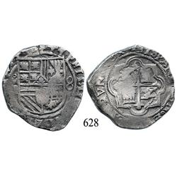 Mexico City, Mexico, cob 8 reales, Philip II, oMF to left, rare error with quadrants of cross transp