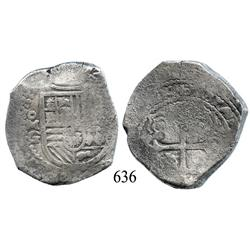 Mexico City, Mexico, cob 8 reales, 1666, oMG/P, very rare.