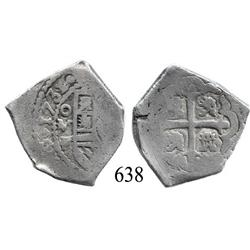 Mexico City, Mexico, cob 4 reales, 1731/0, oMF, rare.
