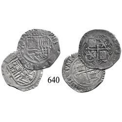 Lot of 2 Mexico City, Mexico, cob 1 reales, Philip II, oM to left, O to right.