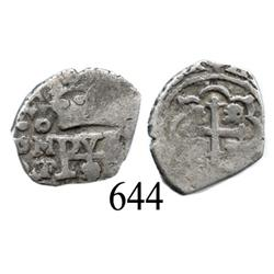 Mexico City, Mexico, cob ½ real, 1730, oMF.
