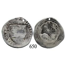 Lima, Peru, cob 2 reales, Philip II, P-X to right, with Guatemala crown countermark of 1663 on cross
