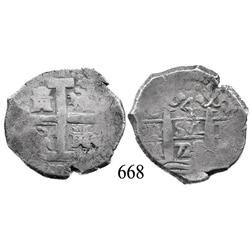 Lima, Peru, cob 4 reales, 1723M, scarce.