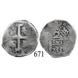 Lima, Peru, cob 2 reales, 1733N.